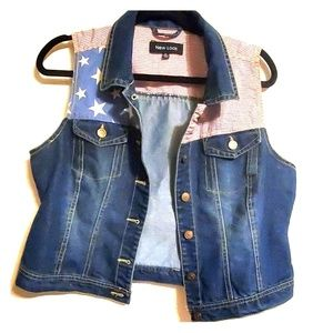 Jean vest with American flag print